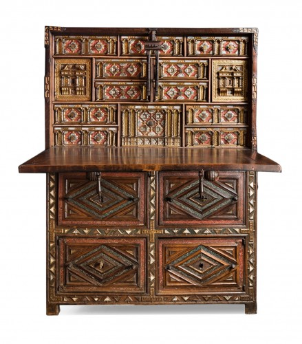 "Travel cabinet known as a ""Bargueno"" with its original base"
