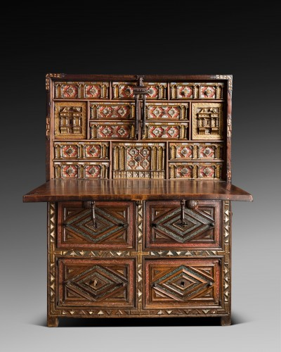 """Travel cabinet known as a """"Bargueno"""" with its original base - Furniture Style"""