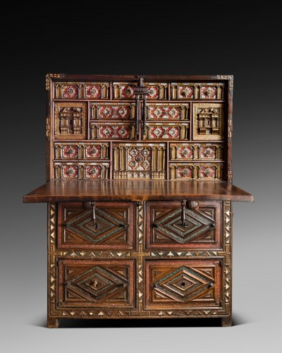 """Furniture  - Travel cabinet known as a """"Bargueno"""" with its original base"""