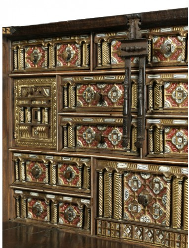 """17th century - Travel cabinet known as a """"Bargueno"""" with its original base"""