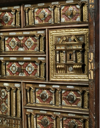 """Travel cabinet known as a """"Bargueno"""" with its original base -"""