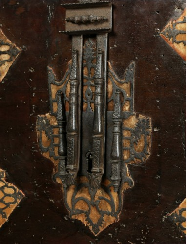 """- Travel cabinet known as a """"Bargueno"""" with its original base"""
