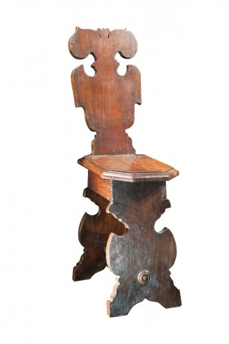 "Fine italian carved walnut ""Sgabelli"""