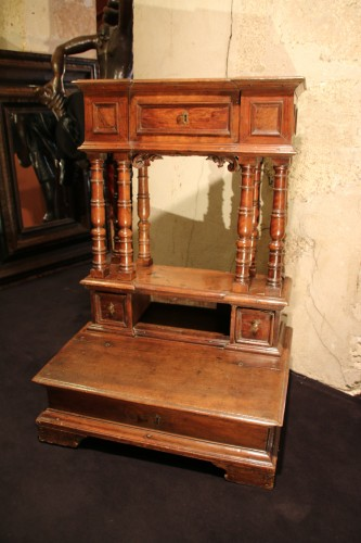 17th Century moulded walnut oratory -