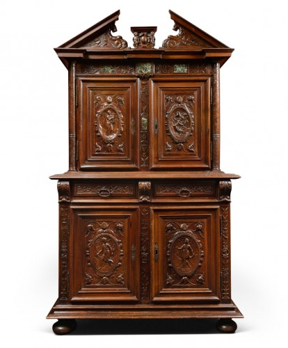 Henri IV walnut cabinet with marble inlays