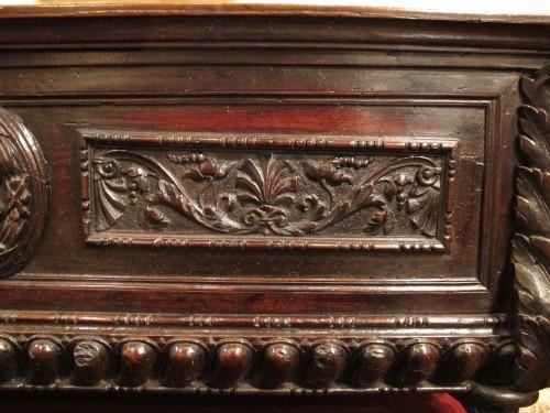 Renaissance - A tuscan Renaissance carved dark walnut cassone