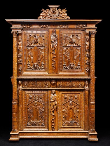 Furniture  - A Rare Renaissance walnut cabinet with its freestanding carved columns