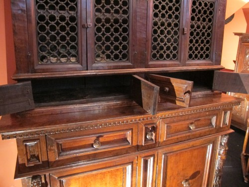 Furniture  - Tuscan Renaissance wrought iron and walnut cabinet