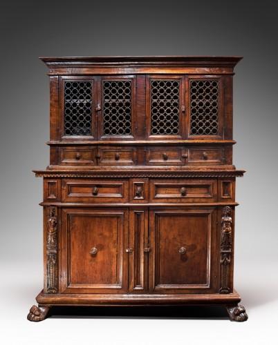Tuscan Renaissance wrought iron and walnut cabinet - Renaissance