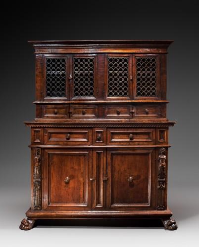Renaissance - Tuscan Renaissance wrought iron and walnut cabinet