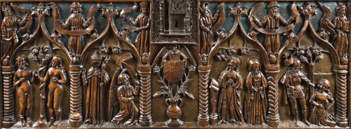 """Renaissance - French carved and polychromed walnut chest """"Louis XII"""""""