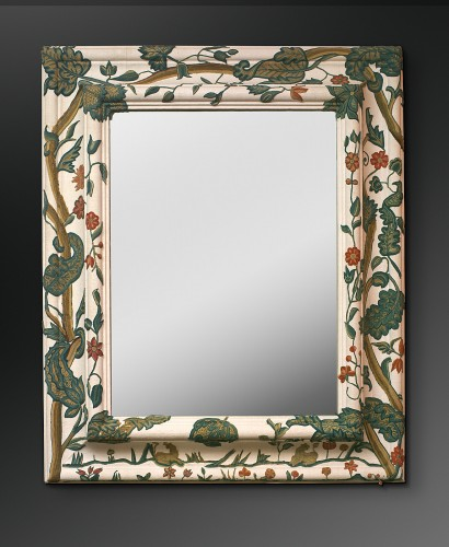 "An english ""Crewel-work"" spot motif applique covered mirror - Mirrors, Trumeau Style"