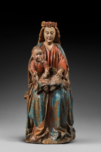 Polychrome wood sculpture depicting the Virgin teaching - Sculpture Style Middle age