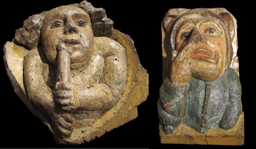 A pair of corbels with audacious subjects from the Middle Ages - Sculpture Style Middle age