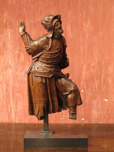 Gothic antwerpen altarpiece element representing a warrior - Sculpture Style Middle age