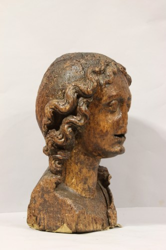 Sculpture  - Wood carved depiction of the head of an angel