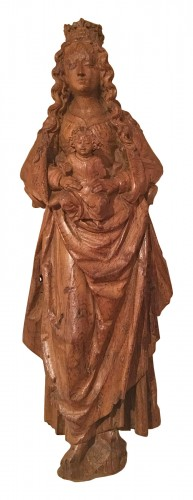 Renaissance carved wood virgin and child