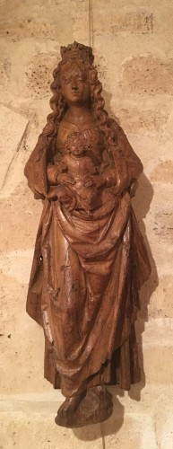 Renaissance carved wood virgin and child - Sculpture Style Renaissance