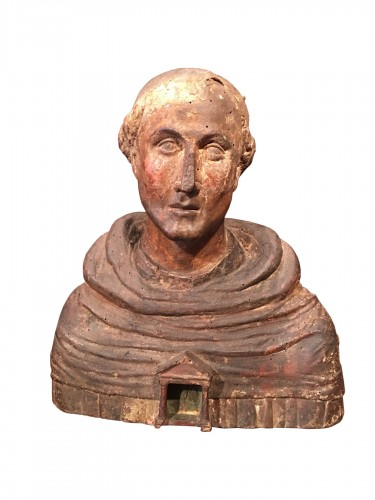 Polychrome reliquary bust of a monk