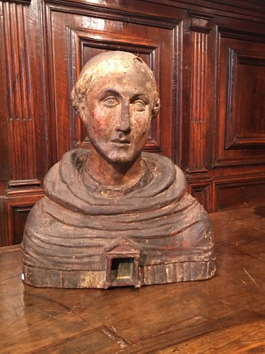 Religious Antiques  - Polychrome reliquary bust of a monk