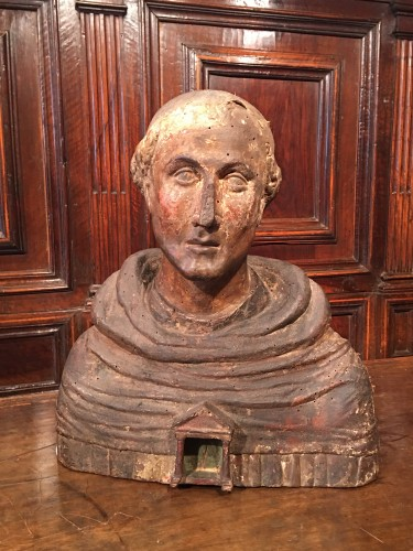 <= 16th century - Polychrome reliquary bust of a monk