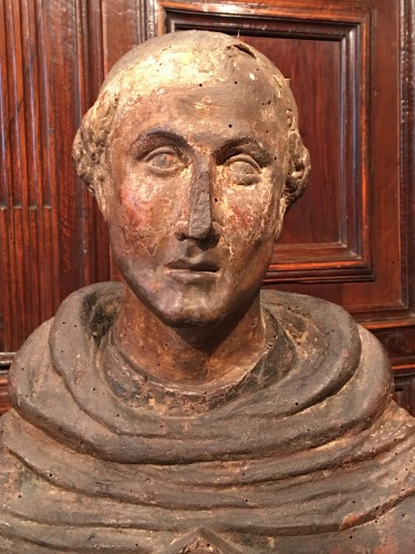 - Polychrome reliquary bust of a monk