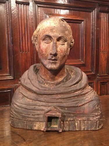 Antiquités - Polychrome reliquary bust of a monk