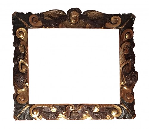 Rare partly gilt carved wood frame of Sansovino