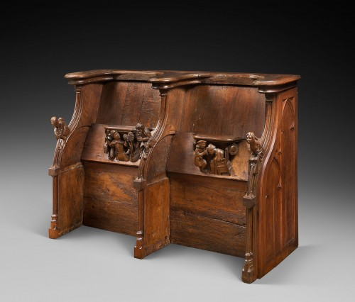 Set of Gothic stalls with historiated misericords -