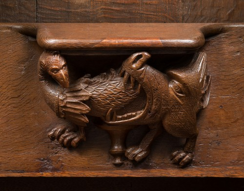 Middle age - Set of Gothic stalls with historiated misericords