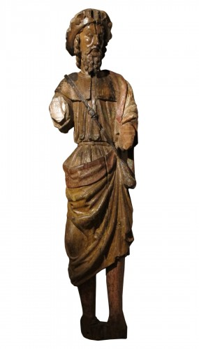Carved wood representing Saint James dressed as Compostela pilgrim