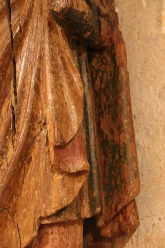 Carved wood representing Saint James dressed as Compostela pilgrim -