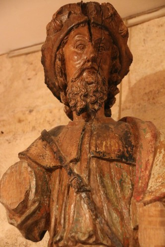 Middle age - Carved wood representing Saint James dressed as Compostela pilgrim