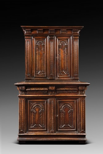 "Furniture  - Renaissance cabinet with perspectives ""trompe-l'oeil"""