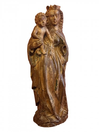 Polychrome wood Virgin and Child