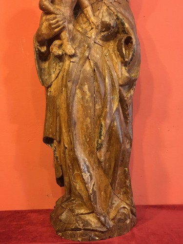 Middle age - Polychrome wood Virgin and Child