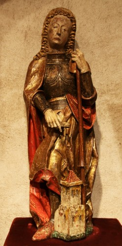 Carved polychrome wood depicting Saint Florian - Religious Antiques Style Middle age