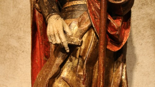 Religious Antiques  - Carved polychrome wood depicting Saint Florian