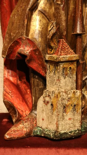 Carved polychrome wood depicting Saint Florian - Middle age
