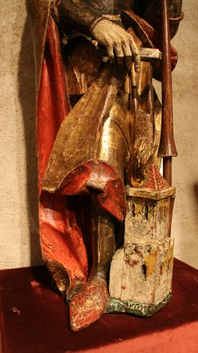 Middle age - Carved polychrome wood depicting Saint Florian