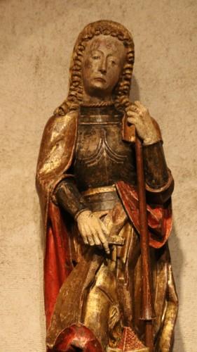 Antiquités - Carved polychrome wood depicting Saint Florian