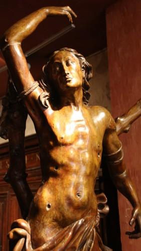 16th century - Carved wood Saint Sebastian