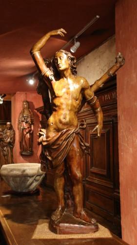 Carved wood Saint Sebastian - Renaissance