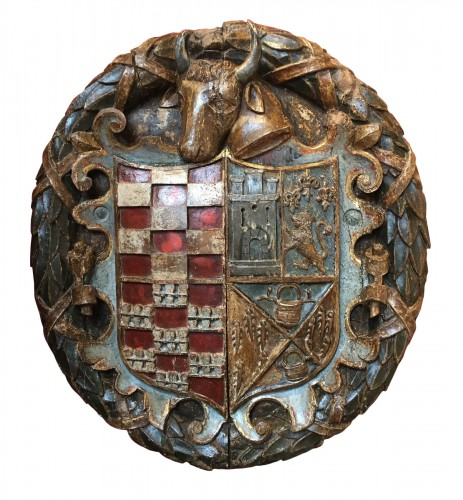 Exceptional carved wood coat-of-arms