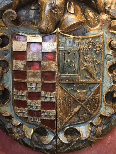 Exceptional carved wood coat-of-arms -