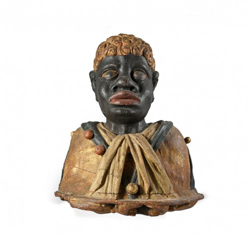 Pair of polychrome wood busts of moors