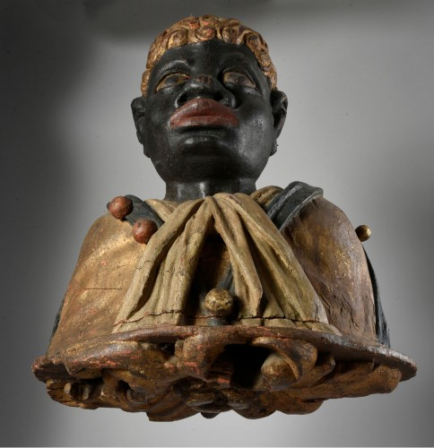 Sculpture  - Pair of polychrome wood busts of moors