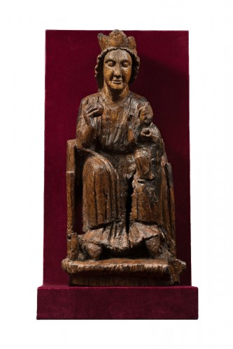 Carved oak Virgin and Child
