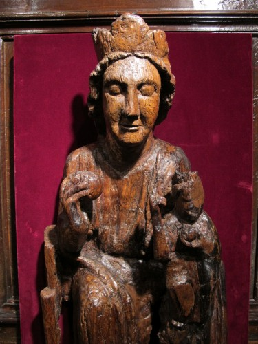 Carved oak Virgin and Child -
