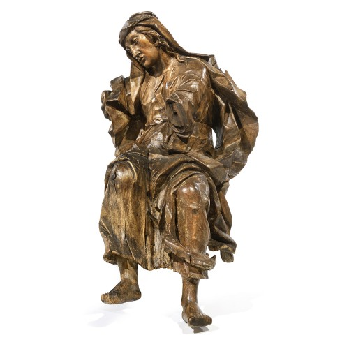 Gothic sculpture depicting a Holy Woman - Religious Antiques Style Middle age